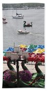 Paddleboats Waiting In The Inner Harbor At Baltimore Beach Towel