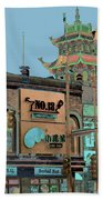 Pagoda Tower Chinatown Chicago Beach Towel by Marianne Dow