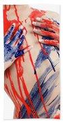 Paint On Woman Body Beach Towel