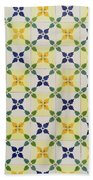 Painted Patterns - Floral Azulejo Tiles In Blue Green And Yellow Beach Towel