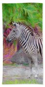 Painted Zebra Beach Towel