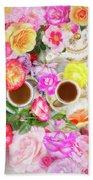 Painterly Tea Party With Fresh Garden Roses II Beach Towel