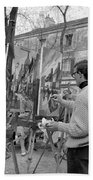 Painters In Montmartre, Paris, 1977 Beach Towel