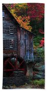 Painting Babcock State Park Glades Creek Grist Mill West Virginia Beach Towel
