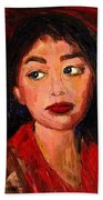 Painting Of A Dark Haired Girl Commissioned Art Beach Towel
