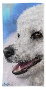 Painting Of A White Fluffy Poodle Smiling Beach Towel