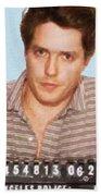 Painting Of Hugh Grant Mug Shot 1995 Black Color Beach Towel