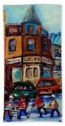 Paintings Of Montreal Hockey On Fairmount Street Beach Towel