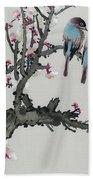 Pair Of Birds On A Cherry Branch Beach Towel