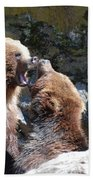 Pair Of Grizzly Bears Biting At Each Other Beach Towel