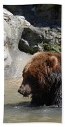 Pair Of Grizzly Bears Wading In A Shallow River Beach Towel