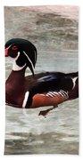 Pair Of Wood Ducks Beach Sheet