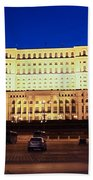 Palace Of Parliament At Night Beach Towel
