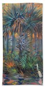 Palm And Egret Beach Towel