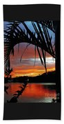 Palm Framed Sunset Beach Towel