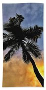 Palm On The Beach Beach Towel