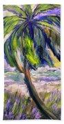 Palm Tree On Windy Beach Beach Towel