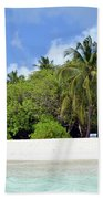Palm Trees And Exotic Vegetation On The Beach Of An Island In Maldives Beach Towel