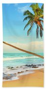 Palm Trees Over The Sea Beach Towel