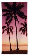 Palms Against Pink Sunset Beach Sheet