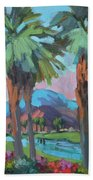 Palms And Coral Mountain Beach Towel