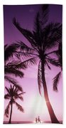 Palms And Pink Sunset Beach Towel