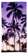 Palms And Purple Sky Beach Towel