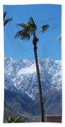 Palms With Snow Beach Towel