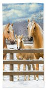 Palomino Quarter Horses In Snow Beach Sheet by Crista Forest