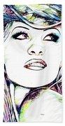 Pamela  Anderson Portrait Beach Towel