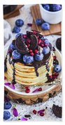 Pancakes With Chocolate Sauce Beach Towel