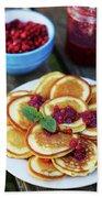 Pancakes With Cranberry Jam Beach Sheet