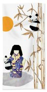 Panda Girl By Mary Ellen Palmeri Beach Sheet