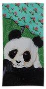Panda In The Rain Beach Towel