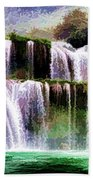 Panorama Ban Gioc Fall Vietnam  Beach Towel