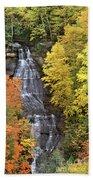 Panorama Fall Color Chapel Falls Upper Penninsula Mi Beach Towel