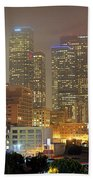 Panorama Of Downtown Los Angeles In The Fog Beach Towel