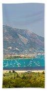 Panorama On Greek Island Beach Towel