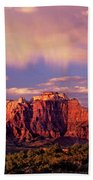Panorama West Temple At Sunset Zion Natonal Park Beach Towel