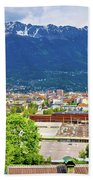 Panoramic Aerial View Of Innsbruck And Hafelekarspitze Mountain Beach Towel