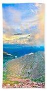 Panoramic Sunset On Mount Evans Beach Towel