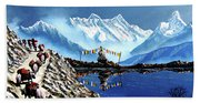 Panoramic View Of Annapurna Mountain Nepal Beach Towel