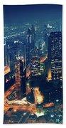 Panoramic View Of Dubai City Beach Towel