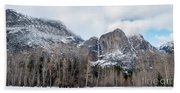 Panoramic View Of Snowed Peaks In Yosemite Park With Snow On The Beach Sheet