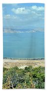 Panoramic View Of The Sea Of Galilee Beach Towel