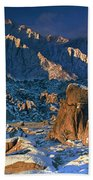 Panoramic Winter In The Alabama Hills Eastern Sierras California Beach Towel