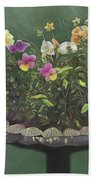 Pansies And Bluebird Beach Towel