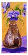 Pansies In Brown Vase Beach Towel by Jamie Frier
