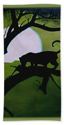 Panther Silhouette - Use Red-cyan 3d Glasses Beach Towel