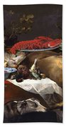 Pantry Scene With Servant By Frans Snyders Beach Towel